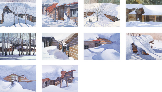 Old Cabins in Winter Note Cards